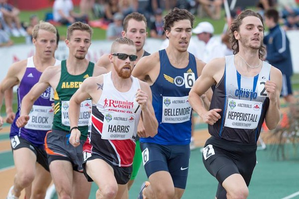 Corey Bellemore (second from right) runs in the 800m event at the Canadian Olympic trials.