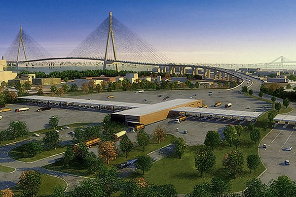 A conceptual rendering of the Gordie Howe International Bridge