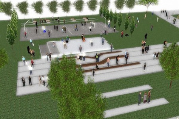 artist's rendering depicting plans for development of the Campus Commons