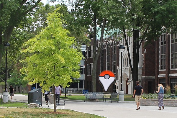 A Pokémon Go lure module outside of Dillon Hall