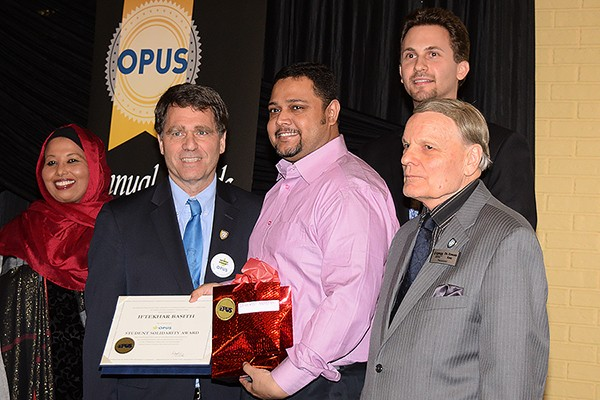 Executive director Maryan Amalow, award winners Clayton Smith and Iftekhar Basith, staffer Steve Jancev and president Ed King.
