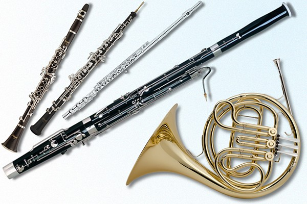 clarinet, oboe, flute, bassoon and horn