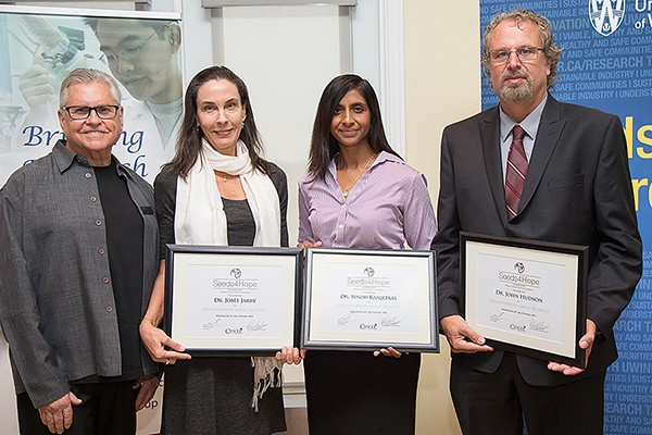 ichael Dufresne congratulates grant recipients Josée Jarry, Sindu Kanjeekal, and John Hudson.