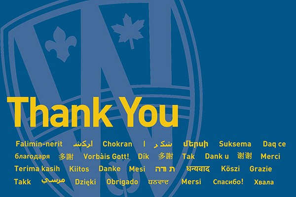 "Graphic with ""Thank You"" in many languages."