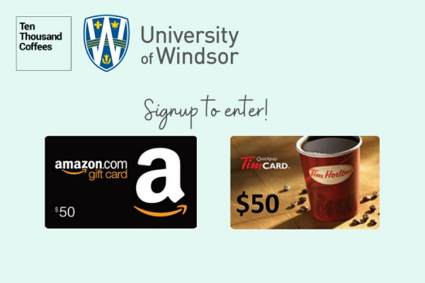 graphic displaying UWindsor Ten Thousand Coffees network and giftcards offered as p[rizes