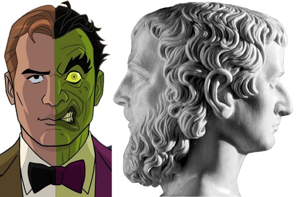 cartoon of Two-Face and marble bust of Janus