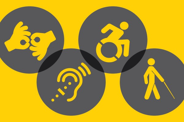 icons representing accessibility: sign language, person in wheelchair, person with cane