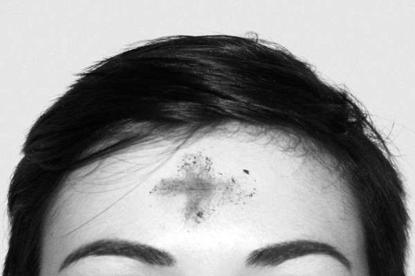 forehead with ashes in shape of cross