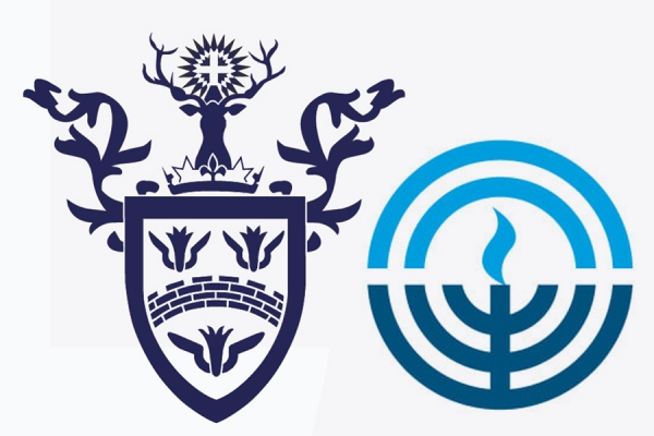 logos of Assumption University and the Windsor Jewish Federation and Community Centre