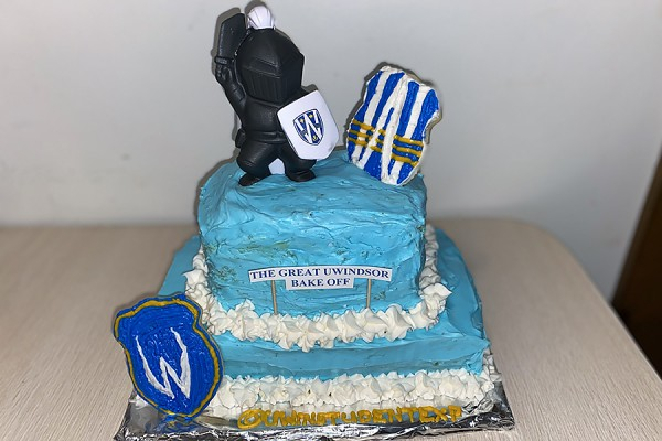 cake decorated in blue icing