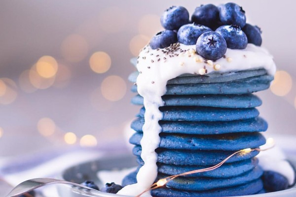 stack of blue pancakes