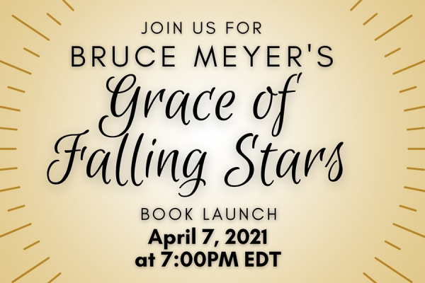 text advertising launch of the book Grace of Falling Stars on Wednesday, April 7.