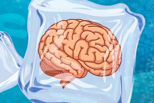 A cartoon brain encased in ice