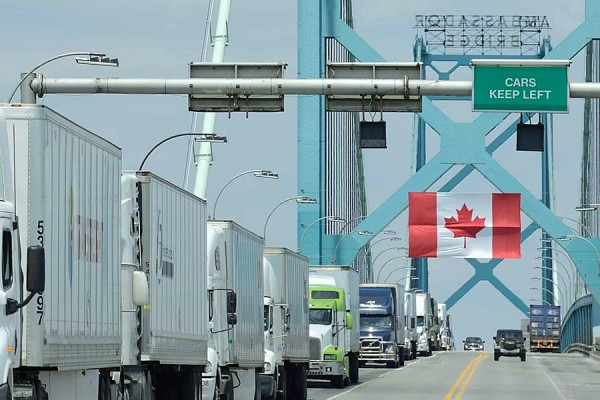 Vehicles crossing Ambassador Bridge