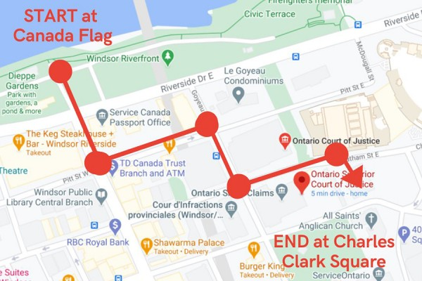 Map showing procession route through downtown Windsor