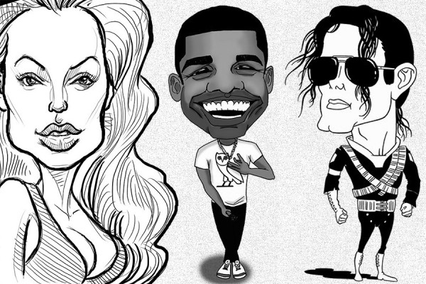 caricatures of actor Angelina Jolie, musicians Drake and Michael Jackson