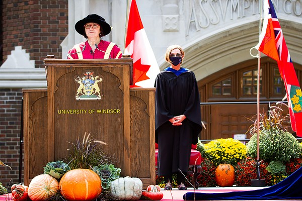 Chancellor Mary Jo Haddad and registrar Alice Miller