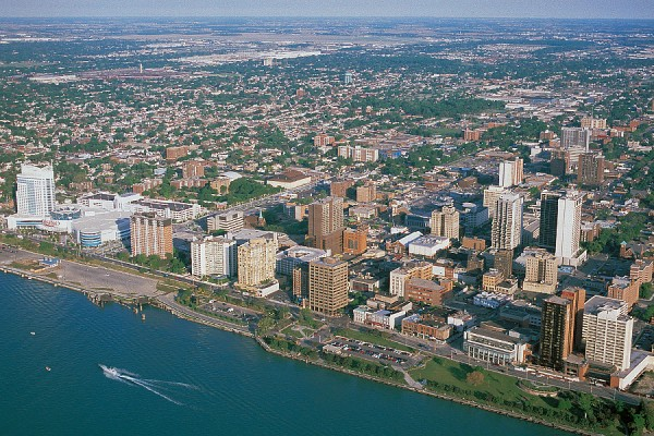 aerial photograph of downtown Windsor
