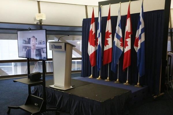 an empty podium in a city hall