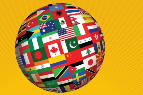 globe covered in flags of the world