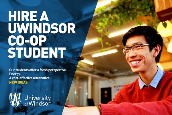 "mage that says ""Hire a UWindsor co-op student"""