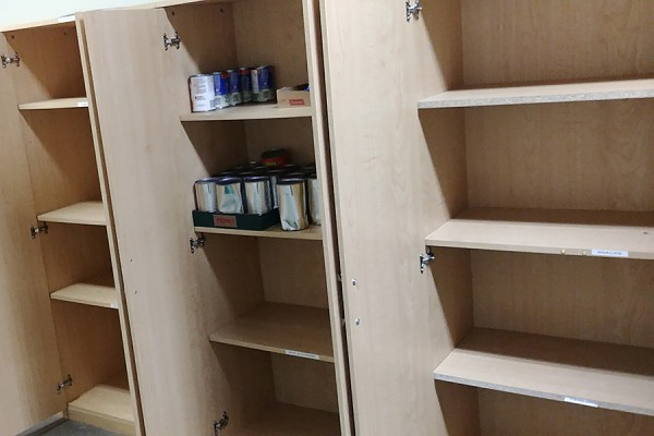 empty cupboard at the food bank