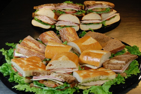 Platters of deli sandwiches