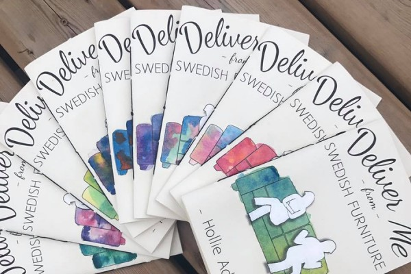 "book cover ""Deliver Me from Swedish Furniture"" by UWindsor alumna Hollie Adams"