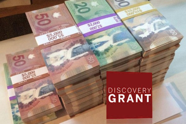 "Comically high piles of cash labelled ""Discovery Grant"""