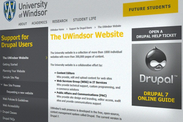 computer screen displaying UWindsor Drupal website