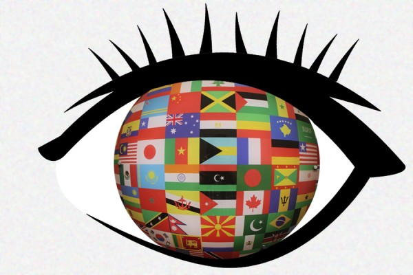 Eye with many flags inside