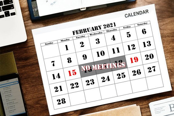 "Calendar indicating three days marked ""no meetings"""