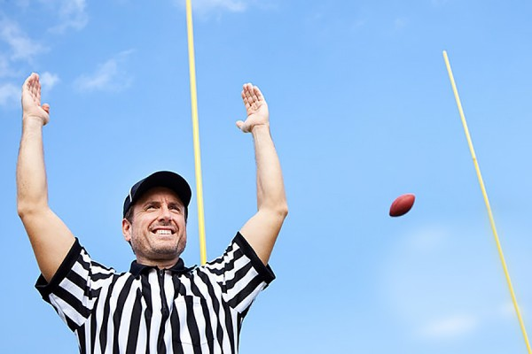 football ref signalling successful field goal