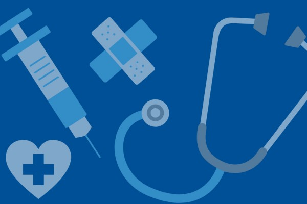 medical devices: syringe, stethoscope