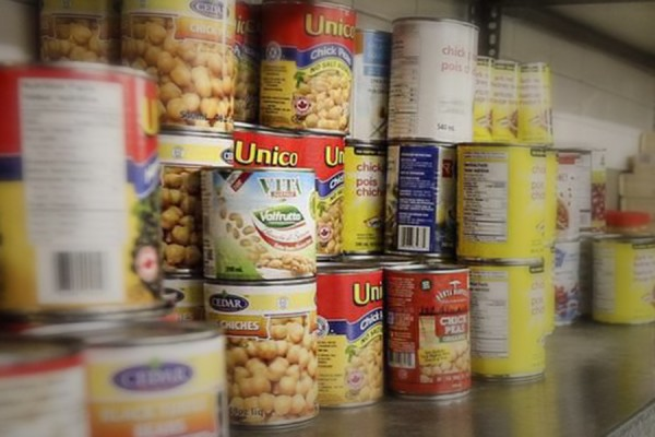 shelf of canned goods