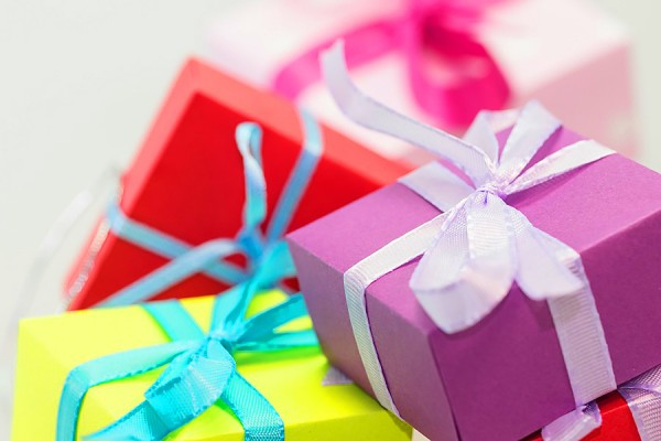 giftboxes wrapped with ribbons