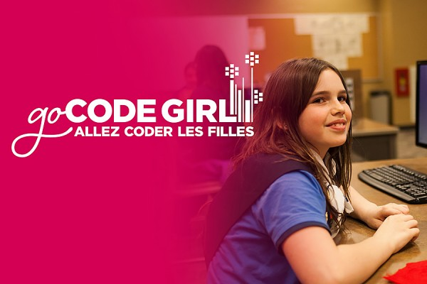 Go Code Girl image: young woman at computer