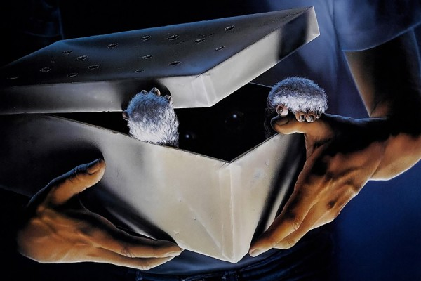 image from movie poster Gremlins: hands holding gift-wrapped box with paws emerging from under lid