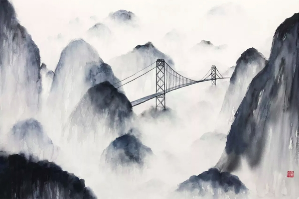 mountains with bridge spanning