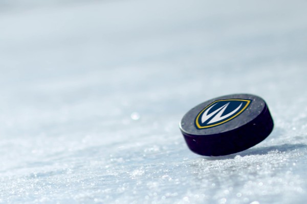 hockey puck with Lancer logo