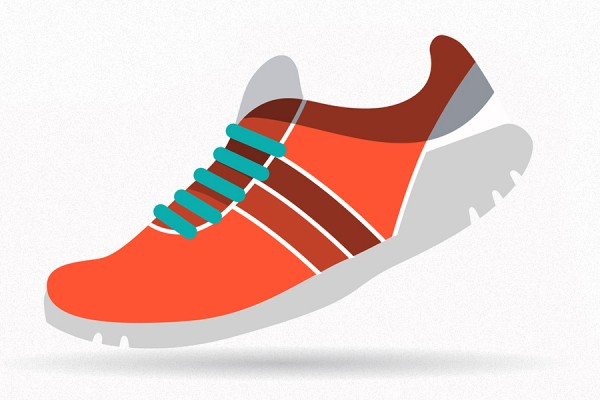 running shoe depicted in motion