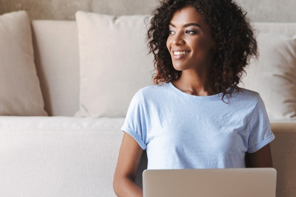 young woman excited about online learning