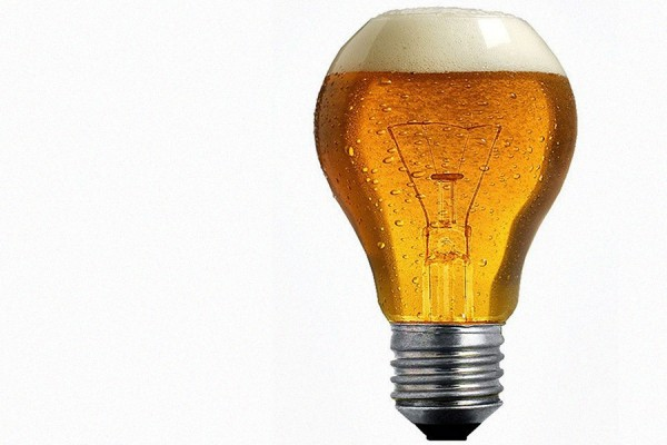 light bulb filled with beer