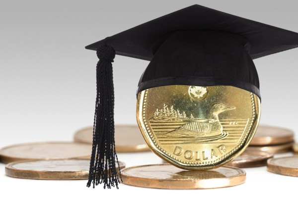 graduation cap mortarboard on loonie