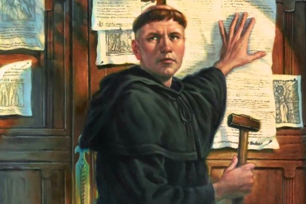 "painting of Martin Luther ""nailing"" theses to church door"