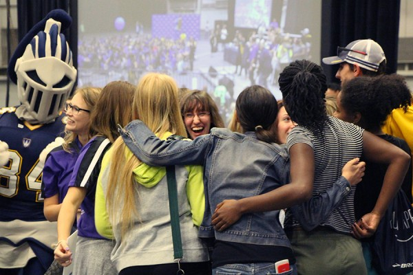 Students rally during 2017 UWindsor Welcome Week festivities.