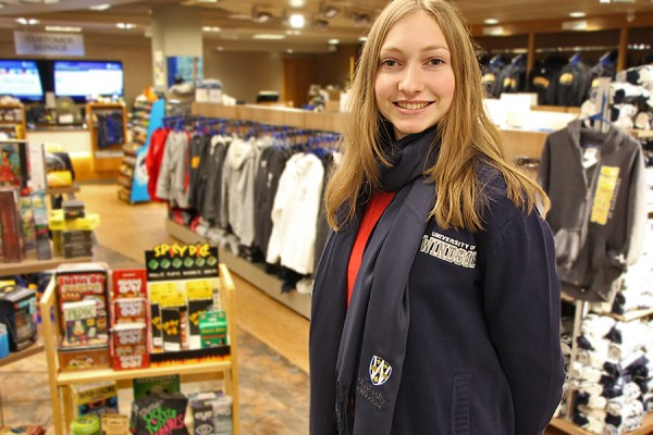 Natalie Powney models a UWindsor cardigan and pashmina from the bookstore.