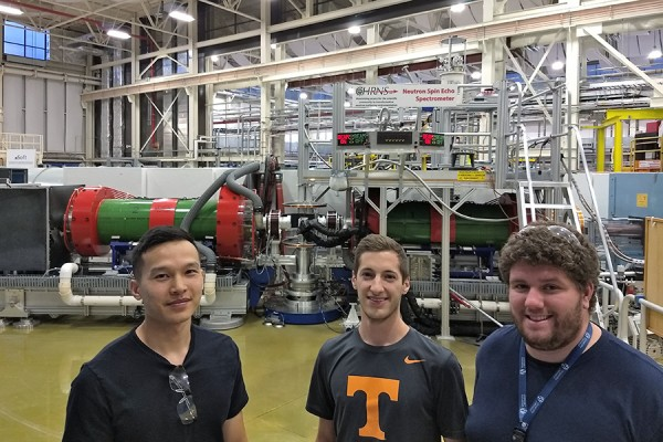 Michael Nguyen, Mitchell DiPasquale, and Brett Rickeard visit the NIST Center for Neutron Research