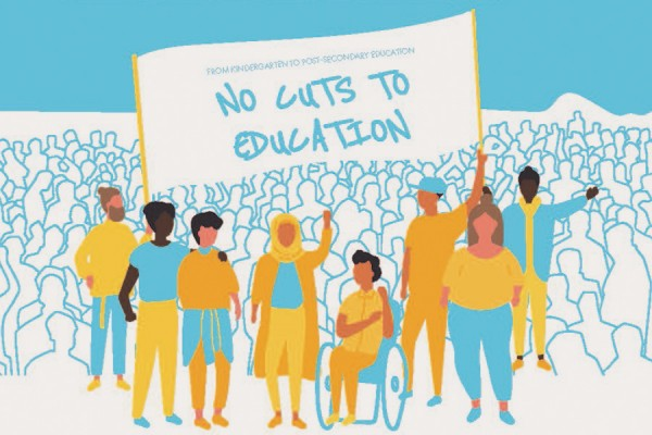 "graphic of students marching under banner ""No cuts to education"""