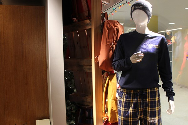 mannequin wearing flannel pants with a long-sleeved T-shirt